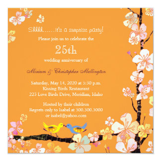 Posh Kissing Birds Surprise 25th Anniversary Party Invitation