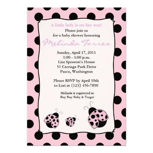 Posh Mod Ladybug 5x7 Pink Baby Shower Invitation