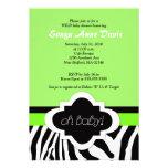 """Posh """"Oh Baby"""" Zebra Stripe 5x7 Baby Shower Invite"""