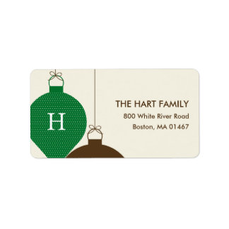 Posh Ornaments Holiday Address Label (Green) Personalized Address Labels