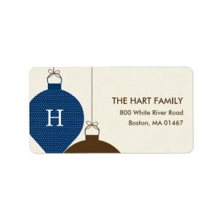 Posh Ornaments Holiday Address Label (Navy) Custom Address Labels