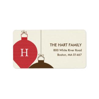 Posh Ornaments Holiday Address Label (Red) Custom Address Labels
