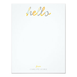 Posh Painted Hello Personal Stationery 4.25x5.5 Paper Invitation Card