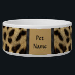 """Posh Pet  Cheetah Pattern - Customize Bowl<br><div class=""""desc"""">Delightful wildlife design features a Cheetah fur pattern with black accents. Use our tools to customize the Pet Name text with your Cat or Dog&#39;s name.</div>"""