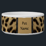 """Posh Pet  Cheetah Pattern - Customize Bowl<br><div class=""""desc"""">Delightful wildlife design features a Cheetah fur pattern with black accents. Use our tools to customize the Pet Name text with your Cat or Dog's name.</div>"""