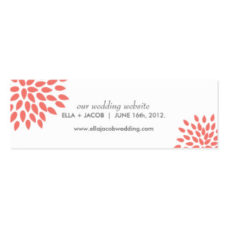 Posh Petals | Coral | Wedding Website Cards Mini Business Card
