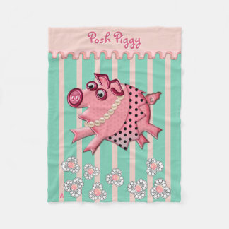 Posh Piggy in Pink on Lucite Green (Personalized) Fleece Blanket