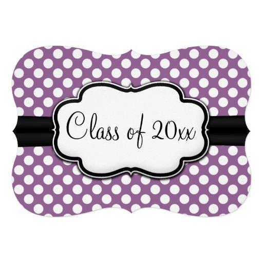 Posh Purple Polka Dot Graduation Invitations