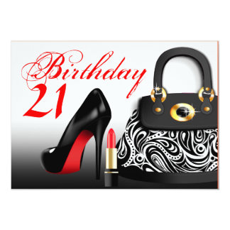 Posh Purse, High Heels and Lipstick 21st Birthday Card
