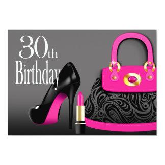 Posh Purse High Heels and Lipstick 30th Birthday Card