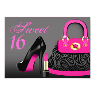 Posh Purse, High Heels and Lipstick Sweet Sixteen Card