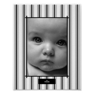 Posh Stripes Personalized Photo Mat - Vertical - Poster