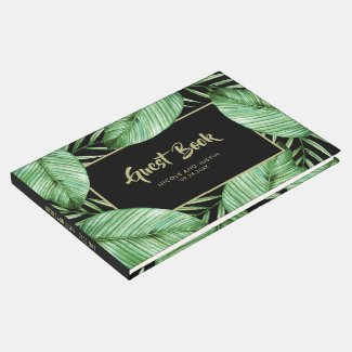 Posh Tropical Vibe Wedding Guest Book