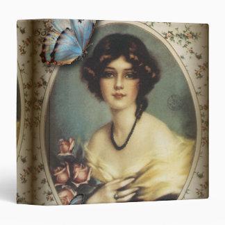Posh Vintage Butterfly Paris Lady Fashion 3 Ring Binder