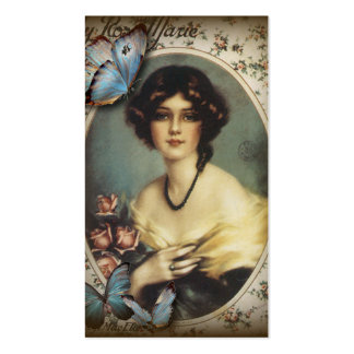 Posh Vintage Butterfly Paris Lady Fashion Double-Sided Standard Business Cards (Pack Of 100)