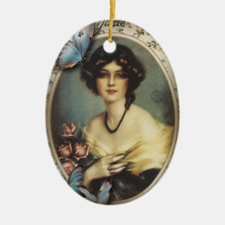 Posh Vintage Butterfly Paris Lady Fashion Ceramic Ornament