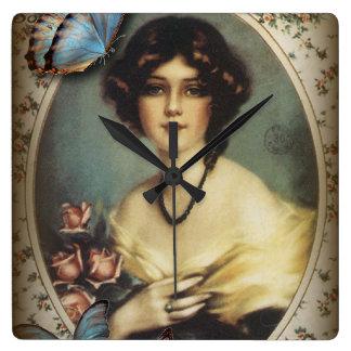 Posh Vintage Butterfly Paris Lady Fashion Clock