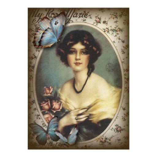 Posh Vintage Butterfly Paris Lady Fashion Announcements