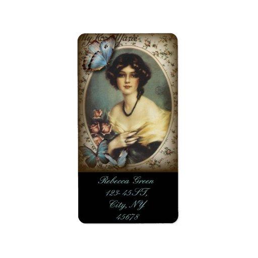 Posh Vintage Butterfly Paris Lady Fashion Personalized Address Label