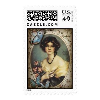 Posh Vintage Butterfly Paris Lady Fashion Stamp