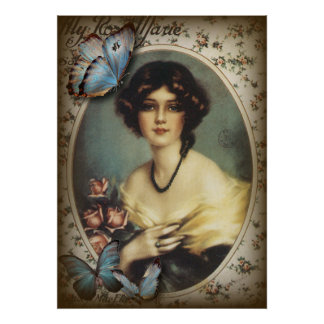 Posh Vintage Butterfly Paris Lady Fashion Poster