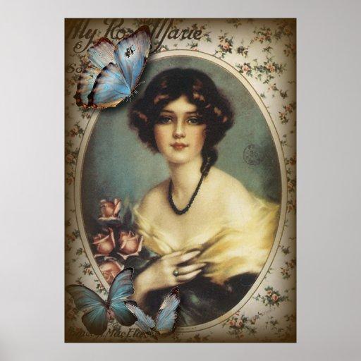 Posh Vintage Butterfly Paris Lady Fashion Print