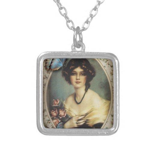 Posh Vintage Butterfly Paris Lady Fashion Square Pendant Necklace