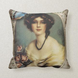 Posh Vintage Butterfly Paris Lady Fashion Throw Pillow