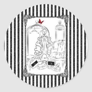 Posh Wardrobe Striped Room Classic Round Sticker