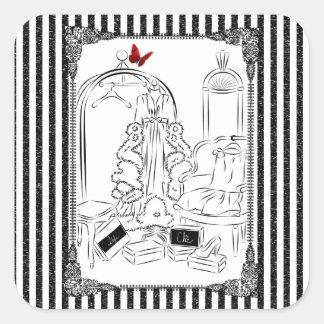 Posh Wardrobe Striped Room Square Sticker