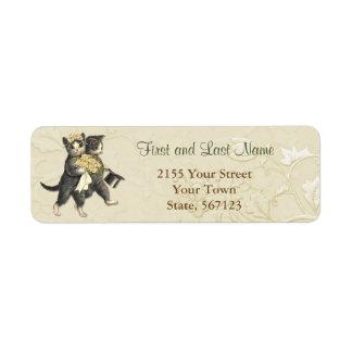 Posh Wedding Cats Ivory Floral Address Label