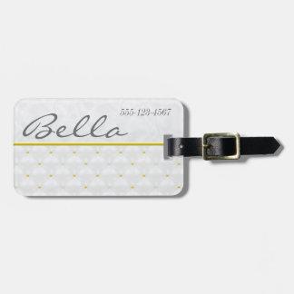 Posh White Satin & Gold Luggage Tag