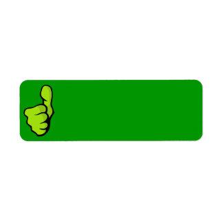 posi verde superior del dedo del pulgar del puño etiqueta de remite