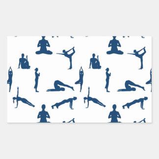 Posiciones de la yoga pegatina rectangular