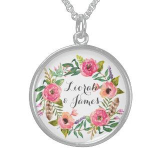 Posie dulce y romántico de la flor de la acuarela collares de plata esterlina