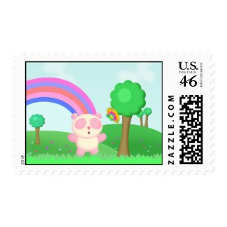 Posie Panda Bear Chasing Butterfly Stamps stamp