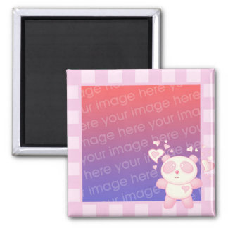Posie Panda Bear Striped Photo Frame Style Magnet