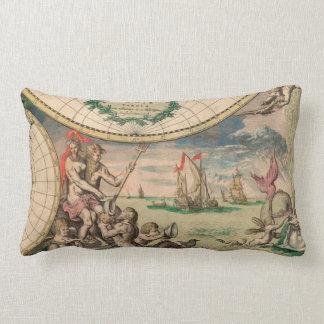 Posiedon Antique Nautical Map Lumbar Pillow