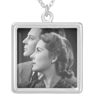 Posing Couple Square Pendant Necklace