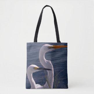 Posing Egrets Tote Bag