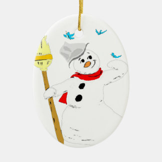 POSING FROSTY Double-Sided OVAL CERAMIC CHRISTMAS ORNAMENT
