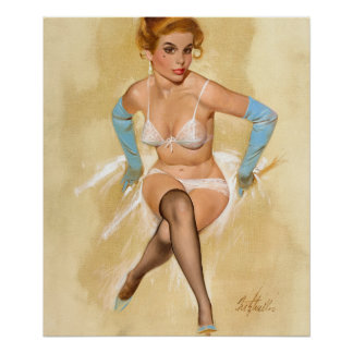 Posing in Lingerie, Brown & Bigelow Pin Up Art Poster