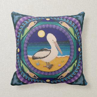 Posing pelican mandala throw pillow