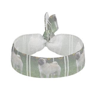 Posing Pug Ribbon Hair Tie