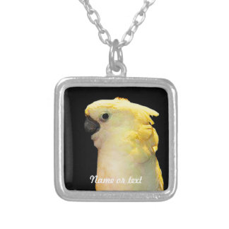Posing white cockatoo bird in the night square pendant necklace
