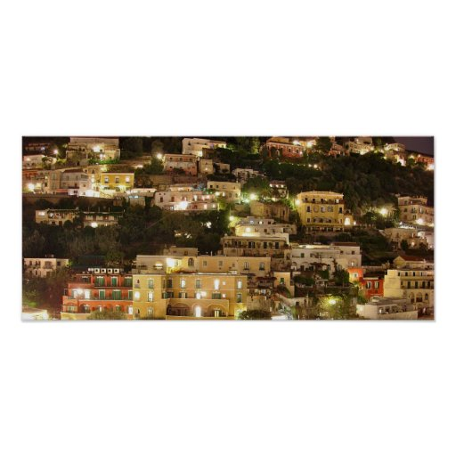 Positano at Night - Hillside Homes - Photo Print