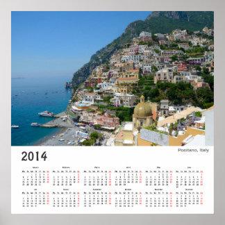 Positano, calendario 2014 del poster de Italia