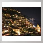 Positano Italia en la noche - impresión fotográfic