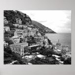 Positano, Italia - impresión de la fotografía - B&