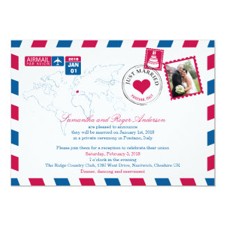 Positano Italy Airmail Post Wedding Reception 5x7 Paper Invitation Card